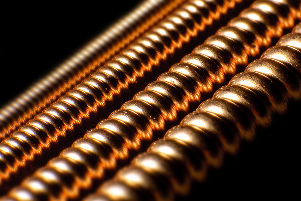 Close-Up view of the structure of Guitar Strings